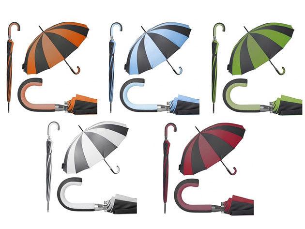 Színes, szélbiztos, 16 paneles esernyő üvegszálas vázzal