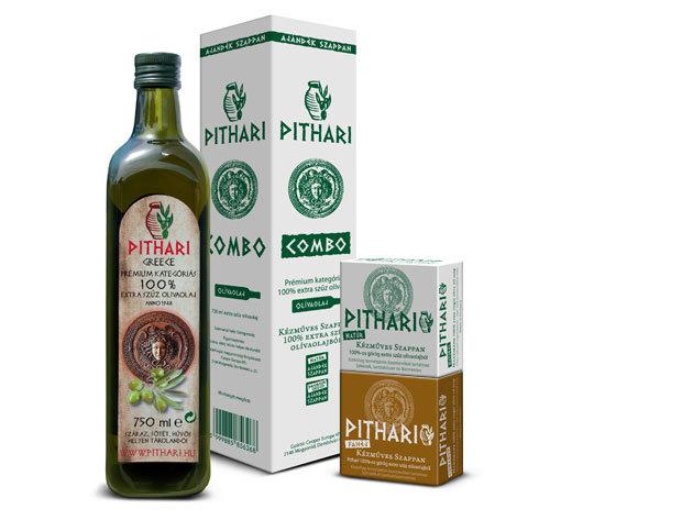 Pithari 100% extra szűz olívaolaj (0,75 liter) + 1db natúr és 1db fahéj illatú kézműves szappan