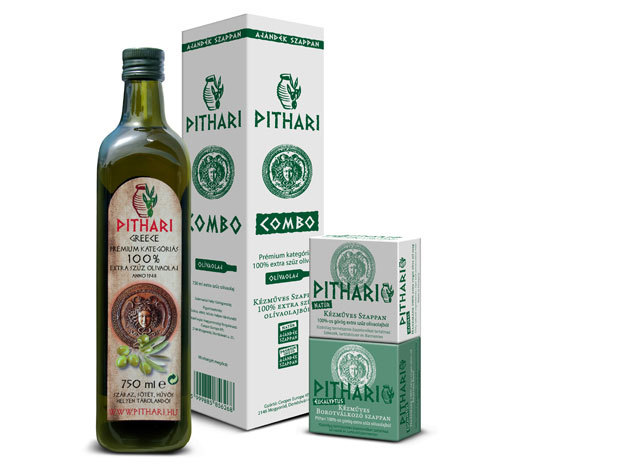 Pithari 100% extra szűz olívaolaj (0,75 liter) + 1db natúr és 1db eukalyptus illatú kézműves szappan
