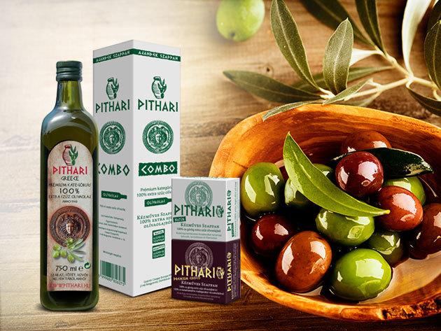 Pithari 100% extra szűz olívaolaj (0,75l) + 2 db kézműves Pithari oliva szappan választható illattal (2x80g)