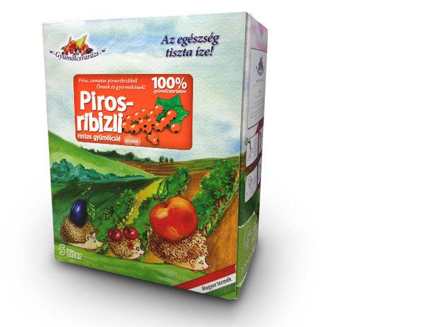 100% gyümölcslé - PIROSRIBIZLI Dobozzal