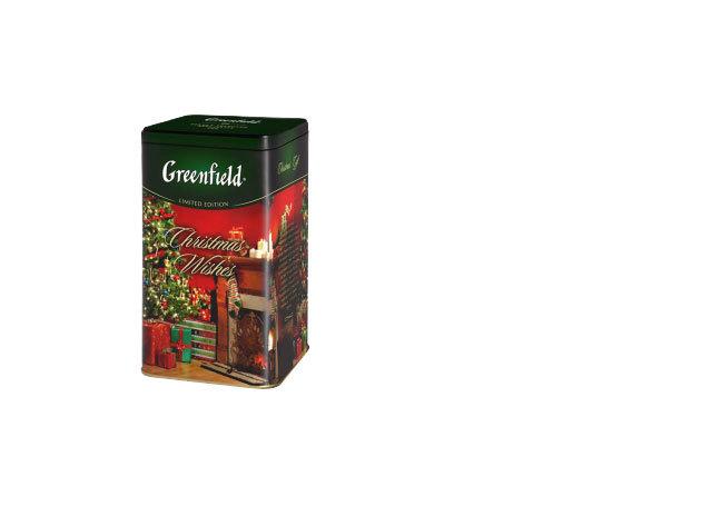 Greenfield Christmas Wishes szálas tea csokoládés-epres ízesítéssel, fém díszdobozban / 150g