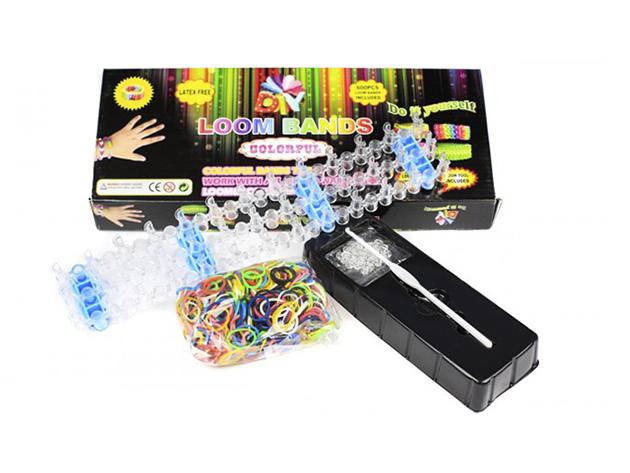 Loom bands karkötő készlet (600 gumigyűrű + szövőtábla)