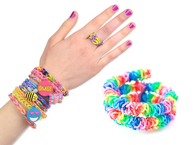 Loom Bands - kreatív, színes karkötőkészítő szett szövőtáblával, kapcsokkal, hurkolóval és 600 db színes gumigyűrűvel