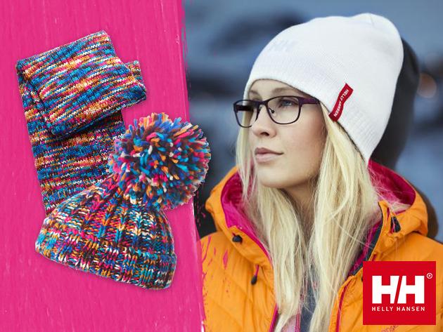 Helly Hansen BYGDØY kötött akril sapka levehető pom-pommal, és hozzá illő sál, vidám színekben