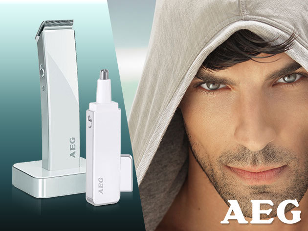 AEG hajvágógép és orrszőrvágó kifinomult dizájnnal, fehér színben