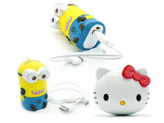 Hello Kitty, Melody és Minion töltő, külső akksi okostelefonokhoz, gyerekeknek!