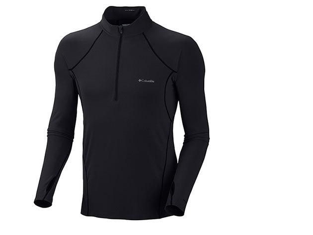 Közepes férfi aláöltöző alsó Omni-Heat hőtartó technológiával 85% poliészter/15% elasztán (AM6942l_010 Men's Midweight 1/2 Zip) - L