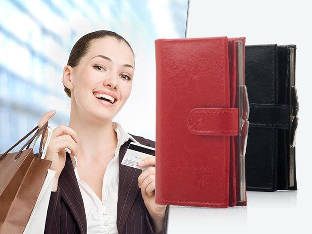 Női bőr pénztárca / Felice - fekete és piros színben, sok rekesszel, a minőség jegyében