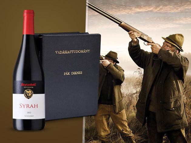 Exkluzív csomag! Pák Dienes: Vadászattudomány I-II. szakkönyvek + 1 palack Szeleshát Syrah nemes vörösbor