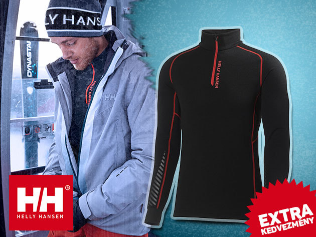 OUTLET! Helly Hansen WARM HIGH NECK 1/2 ZIP aláöltözet férfiaknak, merinói gyapjúval