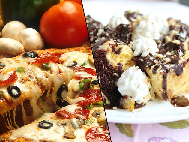 2 db 32 cm-es pizza választható feltéttel + desszert, akár kiszállítással
